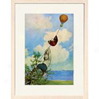 Bear With Balloon 13in X 17in Framed Print