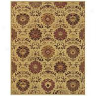 Beige, Charcoal, And Red Floral Rug