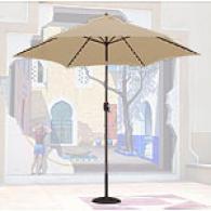 Beige Lighted Markwt 9ft Umbrella