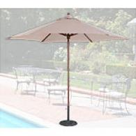 Beige Market 9ft Umbrella With A Light Wood Finish