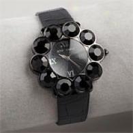 Betsey Johnson A Go-go Black Crystal Watch