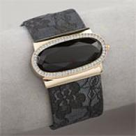 Betsey Johnson Black Metallic Flip Top Watch