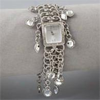 Betsey Jhoson Clear Crystal Dangle Watch