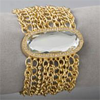 Betsey Jojnson Gold Fip Top Mesh Charm Watch