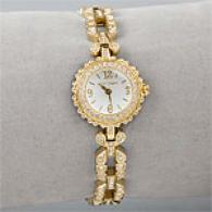 Betsey Johnson Goldtone Crystal Flower Watch