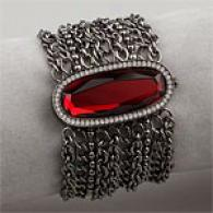 Betsey Johnson Gunmetal Mesh & Red Flip Top Watch