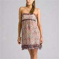 Betsey Johnson Multi Floral Silk Strapless Dress
