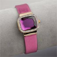 Betsey Johnson Pink Crystal Flip Top Watch