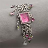 Betsey Johnson Pink Crystal Dangle Watch
