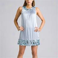 Betsey Johnson Sky Blue Silk Jeweled Trapeze Dress