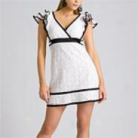 Betsey Johnson White Ruffle Sleeve Dress