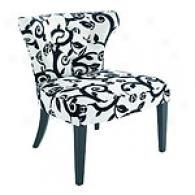 Bianca Black & White Printed Tufted Chair