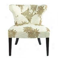 Bianca Olive-green Leaf Printed Tufted Chair