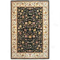 Black & Ivory Floral Hand-tufted Wool Rug