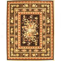 Black Orchid Traditional Floral Wool Rug