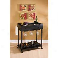 Black Raised Panel Rolling Cart