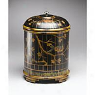 Black Round Birdcage Box With Lid