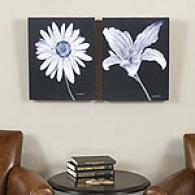 Black & White Flowers Outdoor Canvas Prints