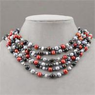 Black, White, Grey & Red Freshwater Pearl Necklace