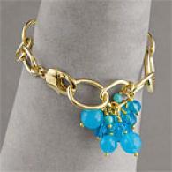 Blue Agate Briolette Cluster & Vermeil Bracelet