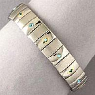 Blue Swarovski Crystal & Stainless Steel Bracelet