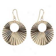 Bold Circle Fan Dangle Earrings, 14k Yellow Gold