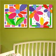 Bright Fllwers Set Of 2 Outdoor Canvas Prints