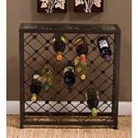 Brown 25 Bottle Iron Wine Bar & Glass Top