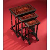 Brown 3pc Tier Nesting Side Table Set