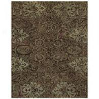 Brown And Light Green Floral Hand Tufted Wool Rug