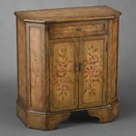 Brown Floral 2 Door 1 Drawer Cabinet