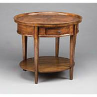 Brown Oval Lamp Table Attending Drawer