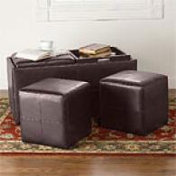 Brown Storage Ottoman With Tray Tables & Ottomans