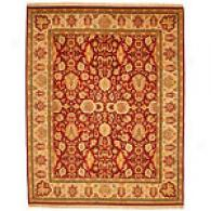 Burgundy Floral Hand- Knotted 100% Wool Rug