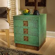 Butler Green Leather Accent Table