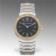 Bvlgari Mens 2 Tone 18k Yellow Gold Accent Watch