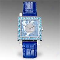 Bvlgari Womens Quadrato Blue Blue Watch