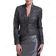 Carmen Marc Valvo Pewter Jacquard Beaded Jacket