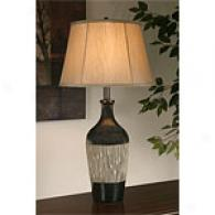 Carved Ribbed Center Ceramic Table Lamp