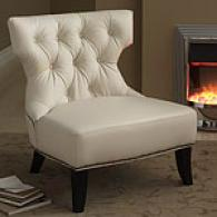 Cassandra Cream Leather Tufted Chair