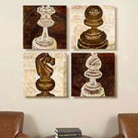 Chess Pieces Set Of Four 11x14 Canvas Print