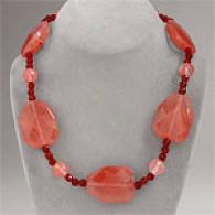 Chunky 567 Cttw. Cherry Quartz Necklace