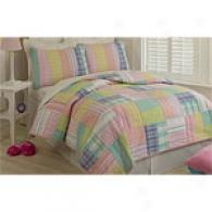 Cindy Pastel Plaid Cotton-wool Quilt Set