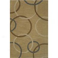 Circles Handcrafted Beige Wool Rug