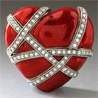 Ciro Red Enamel & Crystal Heart Pin