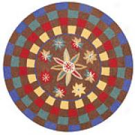 Company C Starry Round Brown Wool Accent Rug