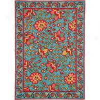 Company C Suzani Turquoise Hooed Wool Rug