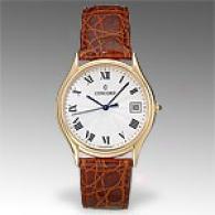 Concord Bennington Mens 18k Gold Leather Watch
