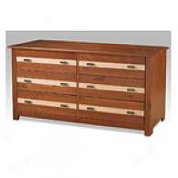Conway Honey Pine & Oak Finished 6 Drawer Dresser