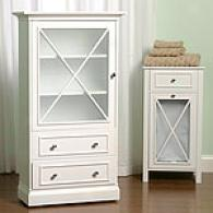 Cottage Tall White Cabinet With Shelves & Drawers